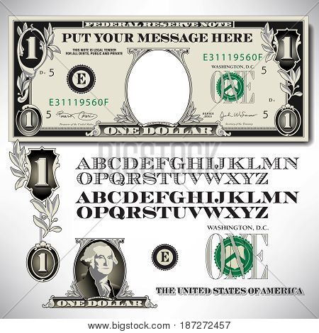 One dollar bill parts with an alphabet to make your own message