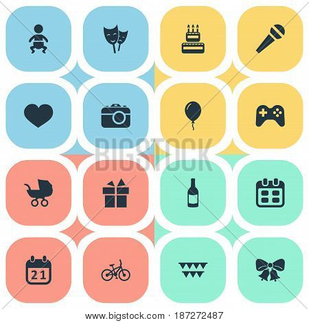 Vector Illustration Set Of Simple Holiday Icons. Elements Speech, Aerostat, Soul And Other Synonyms Jingle, Schedule And Carriage.