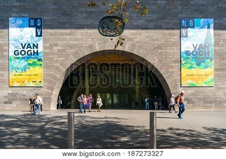National Gallery Of Victoria Entrance With Advertisement Banners Of Van Gogh Exhibition