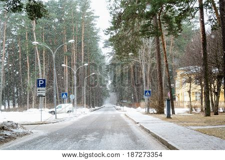 Jurmala, Latvia snowy, cold street in winter