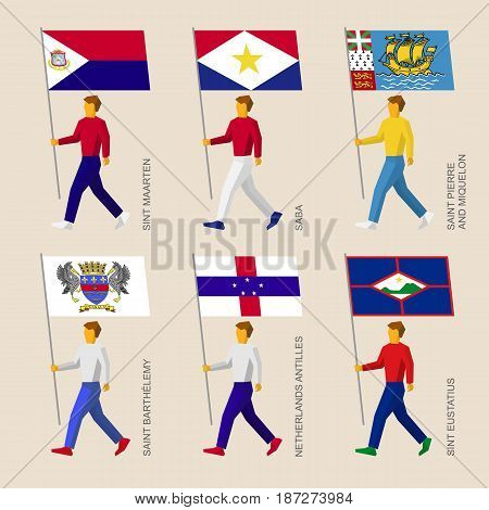 Set of simple flat people with flags of Caribbean countries. Standard bearers infographic - Sint Maarten, Saba, Saint Pierre and Miquelon, Saint Barthelemy, Netherlands Antilles, Sint Eustatius