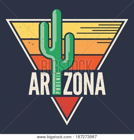 Arizona t-shirt design, print, typography, label with styled saguaro cactus. Vector illustration.