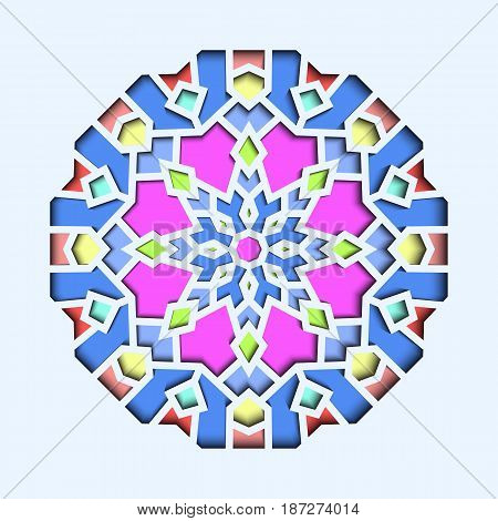 Arabesque pattern, vignette in eastern style, orient stained-glass. Design for Eid Mubarak, decor of mosque 3d.