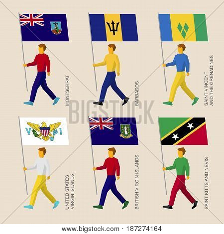 Set of simple flat people with flags of Caribbean countries. Standard bearers infographic - Montserrat, Barbados, Virgin Islands, Saint Kitts and Nevis, Saint Vincent and Grenadines