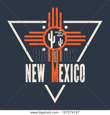 New Mexico t-shirt design, print, typography, label Vector illustration