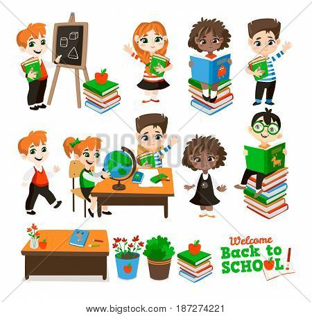 Back to school set. Pupils read the textbook, children do homework etc. Vector illustrations Isolated on white background.