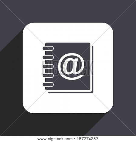 Address book flat design web icon isolated on gray background