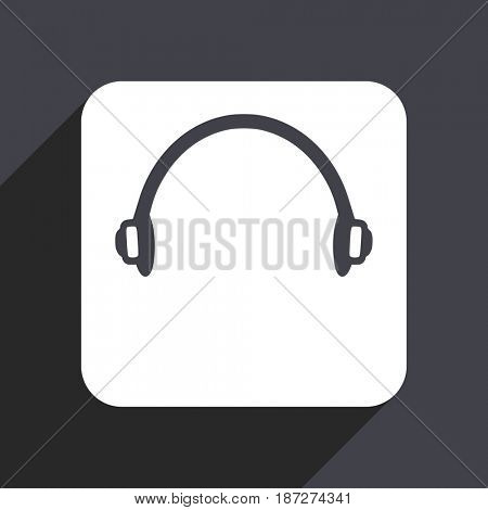 Headphones flat design web icon isolated on gray background
