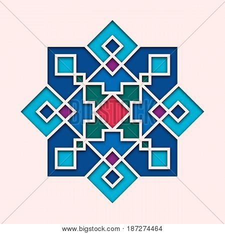 Arabesque, arabic tile, orient colorful stained-glass. Design for Eid Mubarak, Ramadan, decorative islamic vignette for mosque 3d.