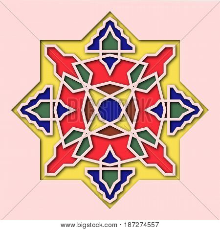 Arabesque, arabic tile, orient colorful stained-glass. Pattern for Eid Mubarak, Ramadan, decorative islamic vignette for mosque 3d.