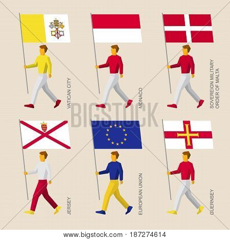 Set of simple flat people with flags of European countries. Standard bearers infographic - Vatican, Monaco, Order of Malta, Jersey, Guernsey, European Union