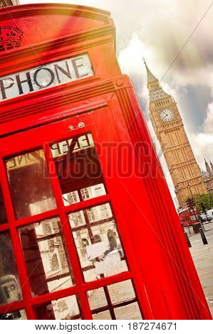 Red phone box in London United Kingdom