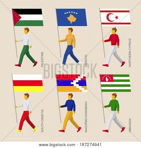 Set of flat people with flags of a disputed territories and partially recognized states. Standard bearers infographic - Palestine, Kosovo, Northern Cyprus, Abkhazia, South Ossetia, Nagorno-Karabakh