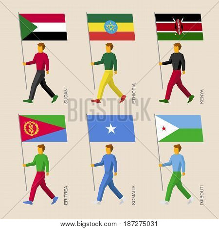 Set of simple flat people with flags of African countries. Standard bearers infographic - Sudan, Ethiopia, Kenya, Eritrea, Somalia, Djibouti