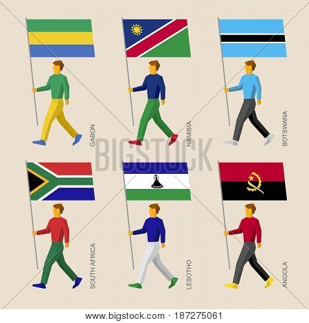 Set of simple flat people with flags of African countries. Standard bearers infographic - Gabon, Namibia, Botswana, South Africa, Lesotho, Angola