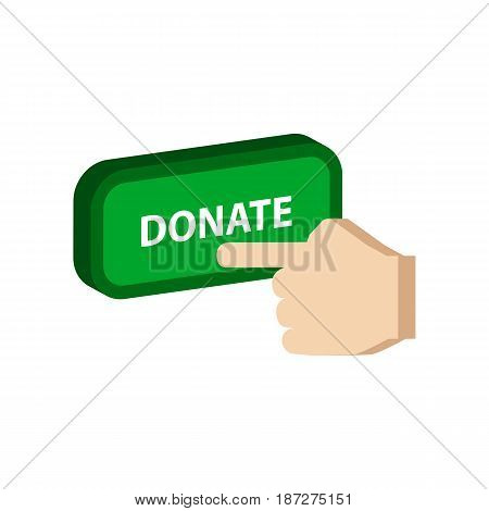 Pressing Donate Button, Donation Symbol. Flat Isometric Icon Or Logo. 3D Style Pictogram For Web Des