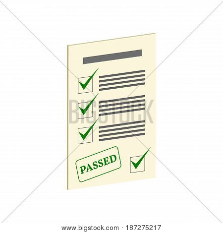 Exam Pass Symbol. Flat Isometric Icon Or Logo. 3D Style Pictogram For Web Design, Ui, Mobile App, In