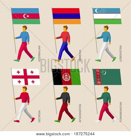 Set of simple flat people with flags of Asian countries. Standard bearers infographic - Armenia, Georgia, Uzbekistan, Azerbaijan, Afghanistan, Turkmenistan