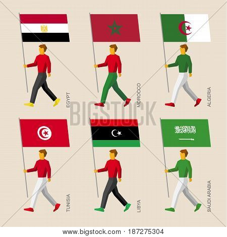 Set of simple flat people with flags of Middle East countries. Standard bearers infographic - Egypt, Libya, Saudi Arabia, Tunisia, Morocco, Algeria