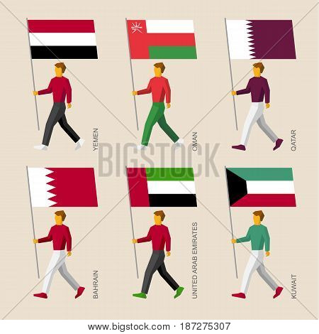 Set of simple flat people with flags of Asian countries. Standard bearers infographic - Yemen, Oman, Qatar, UAE, Kuwait, Bahrain