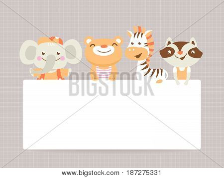 Greeting card template with funny animals and text space