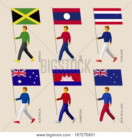 Set of simple flat people with flags of Asian countries. Standard bearers infographic - Cambodia, Australia, New Zealand, Laos, Thailand, Jamaica.