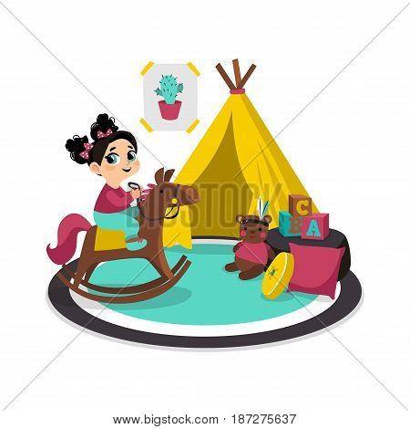 Girl playing with toys at childrens room. Vector illustration of child. Character in cartoon flat style.