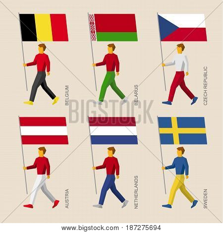 Set of simple flat people with flags of Asian countries. Standard bearers infographic - Belgium, Belarus, Czech Republic, Austria, Netherlands, Sweden.