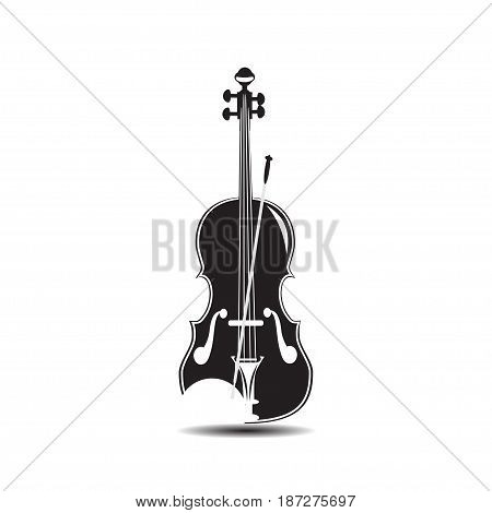 Vector black and white illustration of violin isolated on white background. Flat style design.