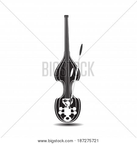 Black and white electric double bass. Vector illustration of contrabass isolated on white background. Flat style design.