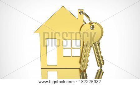 3D illustration gold key with keychain in the form of a small house on a grey background