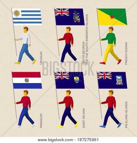 Set of simple flat people with flags of South America countries. Standard bearers infographic - Uruguay, Paraguay, South Georgia, French Guiana, Saint Helena, Falkland Islands