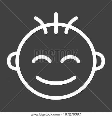 Baby boy line icon, child and infant, vector graphics, a linear pattern on a black background, eps 10.