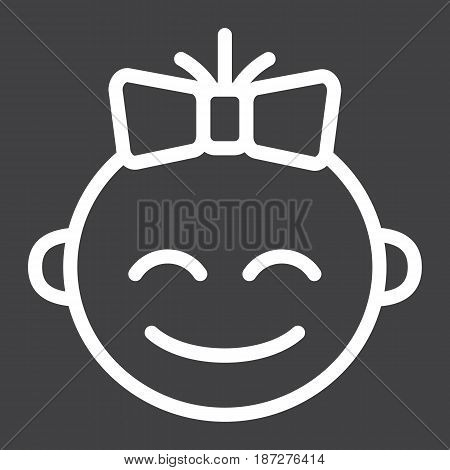 Baby girl line icon, child and infant, vector graphics, a linear pattern on a black background, eps 10.