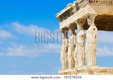 close up details of Erechtheion temple in Acropolis of Athens, Greece