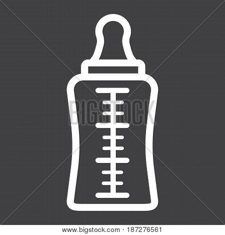 Baby bottle line icon, milk and nipple, vector graphics, a linear pattern on a black background, eps 10.