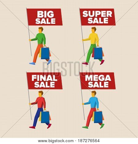Set of colorful walking people with flags. Different slogans about discount offers on the standards: big, super, final and mega sale. Simple flat illustration.