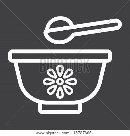 Baby bowl line icon, baby food and nutrition, vector graphics, a linear pattern on a black background, eps 10.