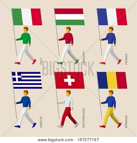 Set of simple flat people with flags of European countries. Standard bearers infographic - France, Romania, Hungary, Italy, Switzerland, Greece.