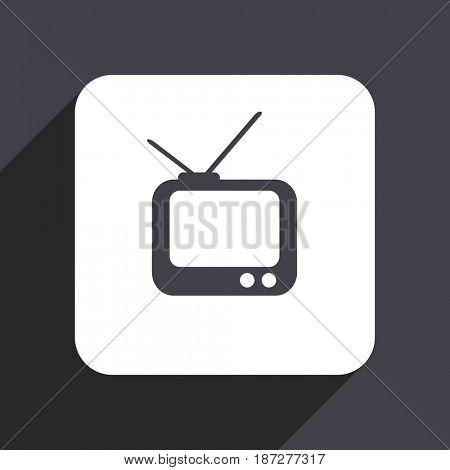 Tv flat design web icon isolated on gray background