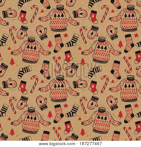 Winter seamless vector pattern with cozy sweater, mittens, socks, candy in hipster style on white background. New Year and Merry Christmas background.