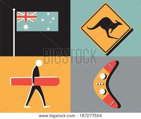 Vector flat illustration, icon set of Australia: kangaroo, boomerang, surfing nature