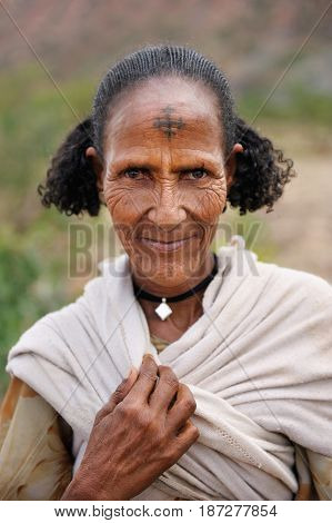 TIGRAY ETHIOPIA - SEP 17 2013 editorial Ethiopian woman with traditional hairstyle from Tigray region Ethiopia Africa