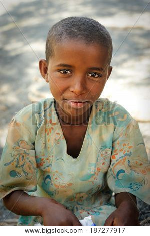 TIGRAY ETHIOPIA - SEP 17 2013 Ethiopian child shepherd girl from Tigray region Ethiopia Africa