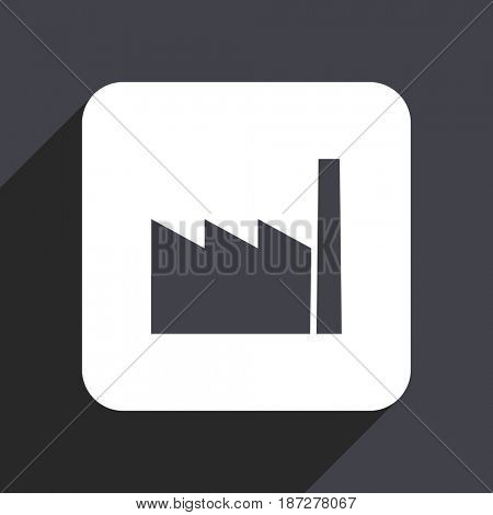 Factory flat design web icon isolated on gray background