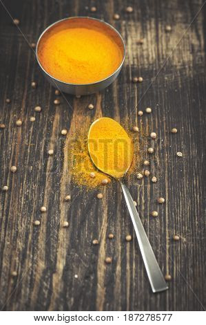 Heap of turmeric on a metal spoon over wooden background
