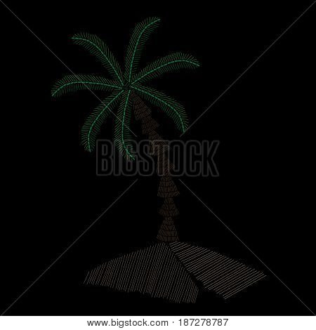 Palm tree embroidery stitches imitation on black background. Embroidery vector illustration with exotic palm tree.