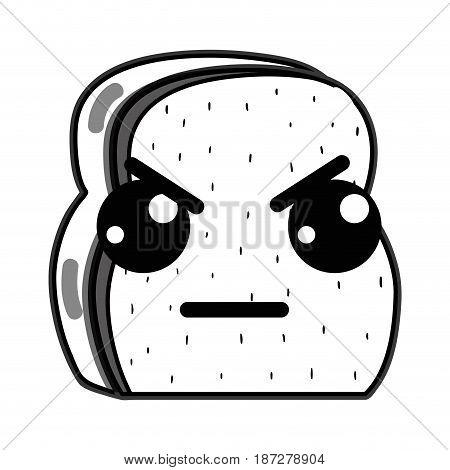 line kawaii cute angry chopped bread, vector illustration design
