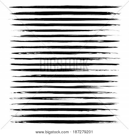Textured Abstract Black Thin Long Smears Vector Objects Isolated On A White Background