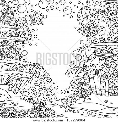 Underwater World With Corals And Fishes Outlined Isolated On White Background